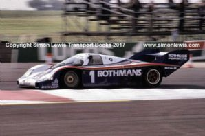 Porsche 956 . Jacky Ickx at speed Silverstone 6 Hours Group C 1982